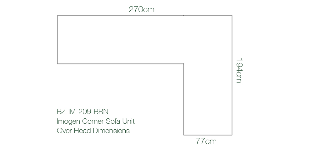 Imogen Corner Sofa Overhead Dimensions