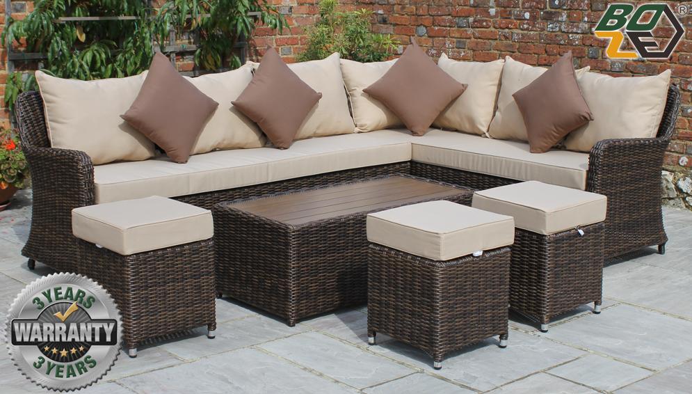 Boze Imogen Brown Rattan 5PC Garden Corner Sofa Set