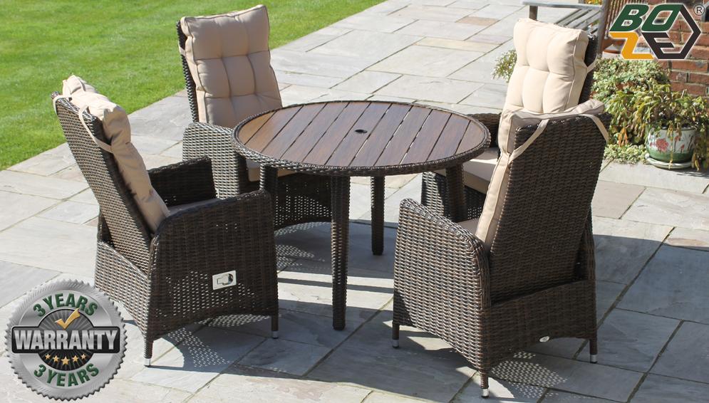 Boze Imogen Brown Rattan Deluxe 4 Seat Round Garden Dining Set