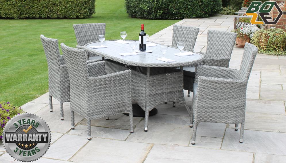 Boze Amelie 6 Seat Oval Grey Rattan Garden Dining Set